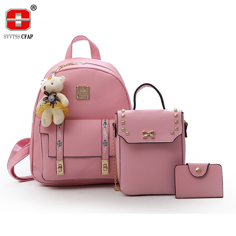 Fashion sweet lady backpack for girls pu leather women back pack small crossbody bags Female Chain Composite 3 pcs/set design