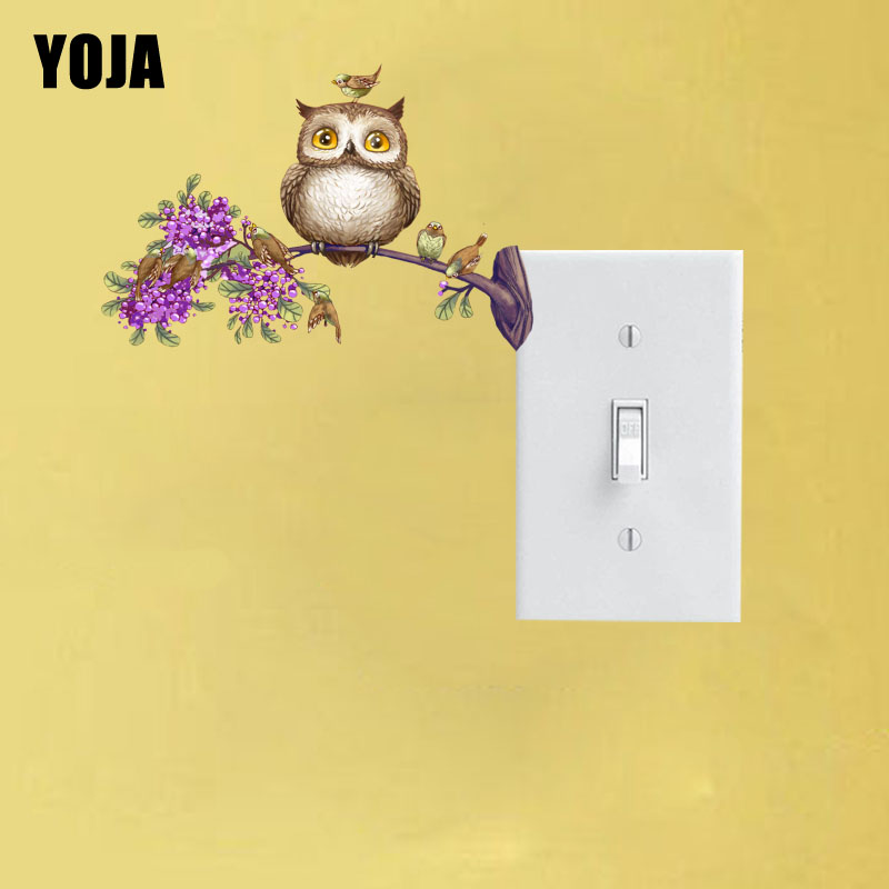 YOJA Flowers Tree Branches Of The Owl Sticker Switch Personalized Living Room Bedroom Wall Colored Decor 10SS0082