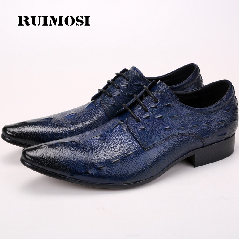 RUIMOSI Pointed Toe Laced Print Man Formal Dress Party Shoes Genuine Leather Male Derby Wedding Oxfords Men's Bridal Flats QC84