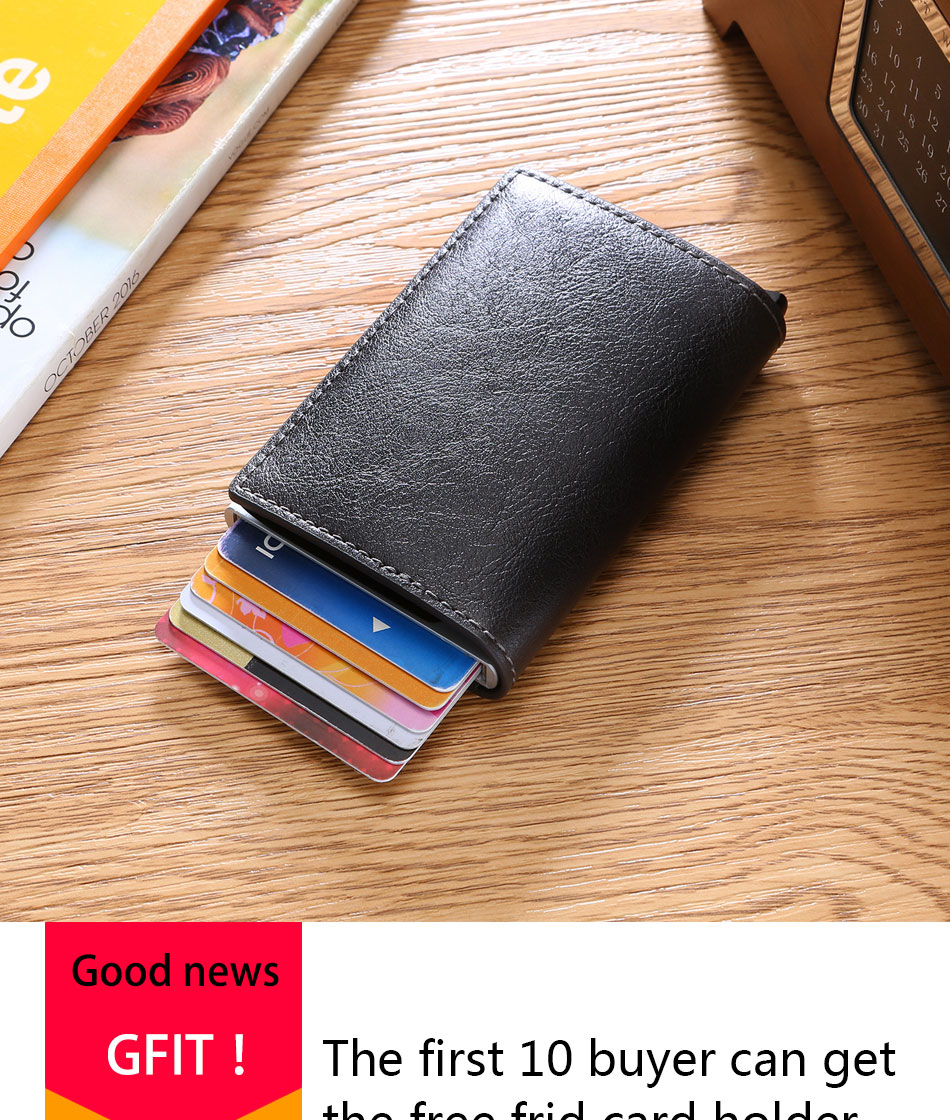 Mens Small Slim Leather Wallets Rfid Card Holder 22
