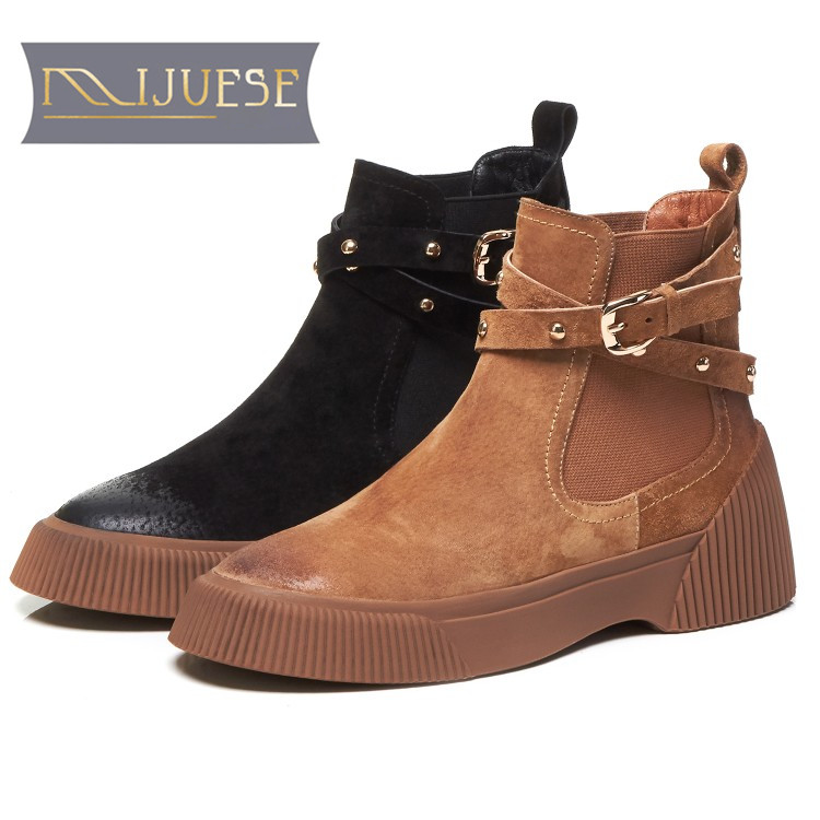 MLJUESE 2019 women ankle boots Pigskin brown color retro winter short plush pointed toe platform flat women Chelsea boots