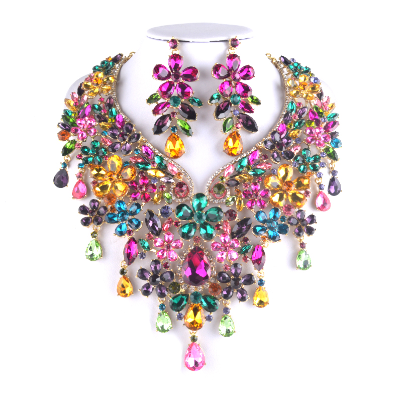 Magnificent Multi Color For Bridal jewelry sets Big Fashion women Party necklace and earring sets wedding Jewelry accessories