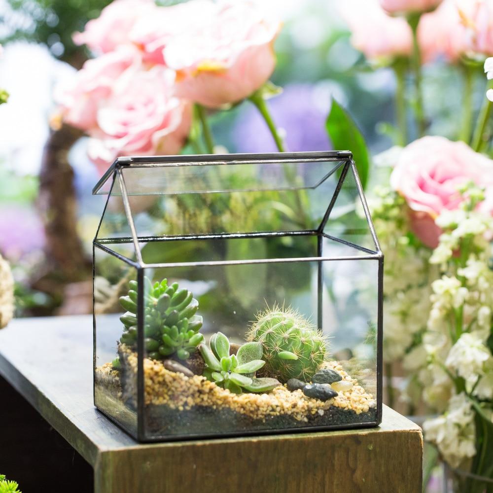Pastoral Handmade House ձևը Ապակի երկրաչափական Terrarium ներսի հաբեր Կանաչ բույս Planter Garden Garden Succulent Flower Pot Bonsai