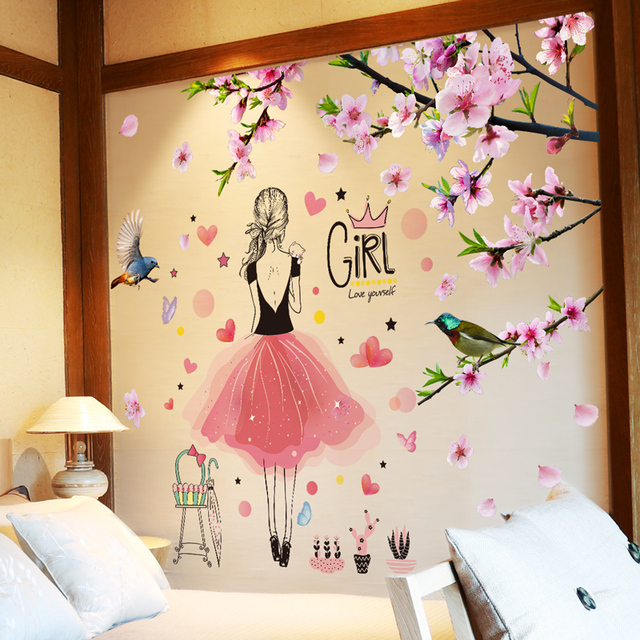 [SHIJUEHEZI] Cartoon Girl Wall Stickers Vinyl DIY Peach Flowers Wall Decals for Kids Rooms Living Room Nursery Decoration