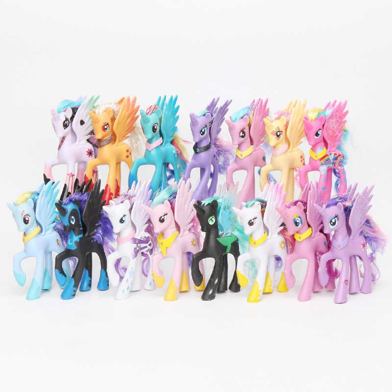 Estilos 14 15 centímetros My Little Pony Rainbow Dash Pinkie Pie Brinquedos Princesa Celestia Luna Ação PVC Figuras Crepúsculo Unicórnio modelo Bonecas