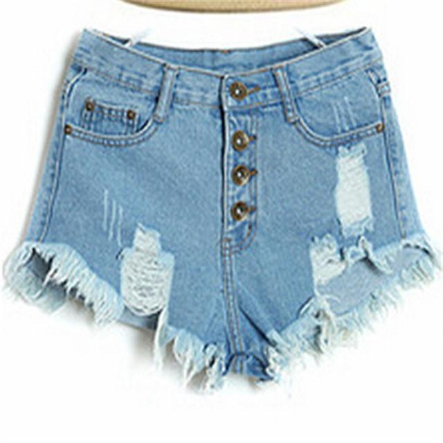 Estilo do verão das Mulheres Do Vintage Calça Jeans de Cintura Alta Moda Mulheres Buraco Curto Regular Sólidos Calções Cor Jeans de Boa Qualidade s-xl