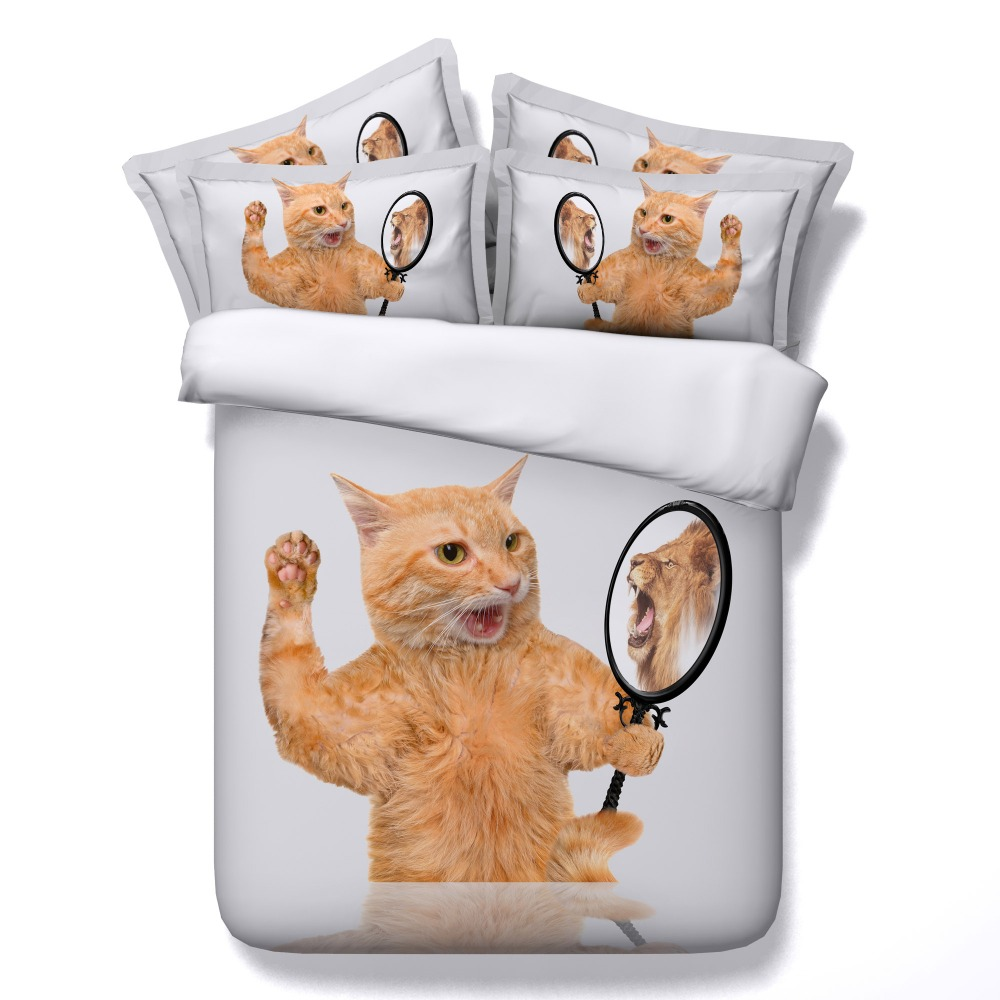 funny cat with mirror bedding sets kids girls white bed ...