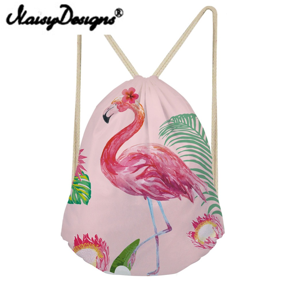 NOISYDESIGNS 3D flamingo Printed Cartoon cute Drawstring Backpack School bags pouch Mochila Infantil Travel Gift Storage