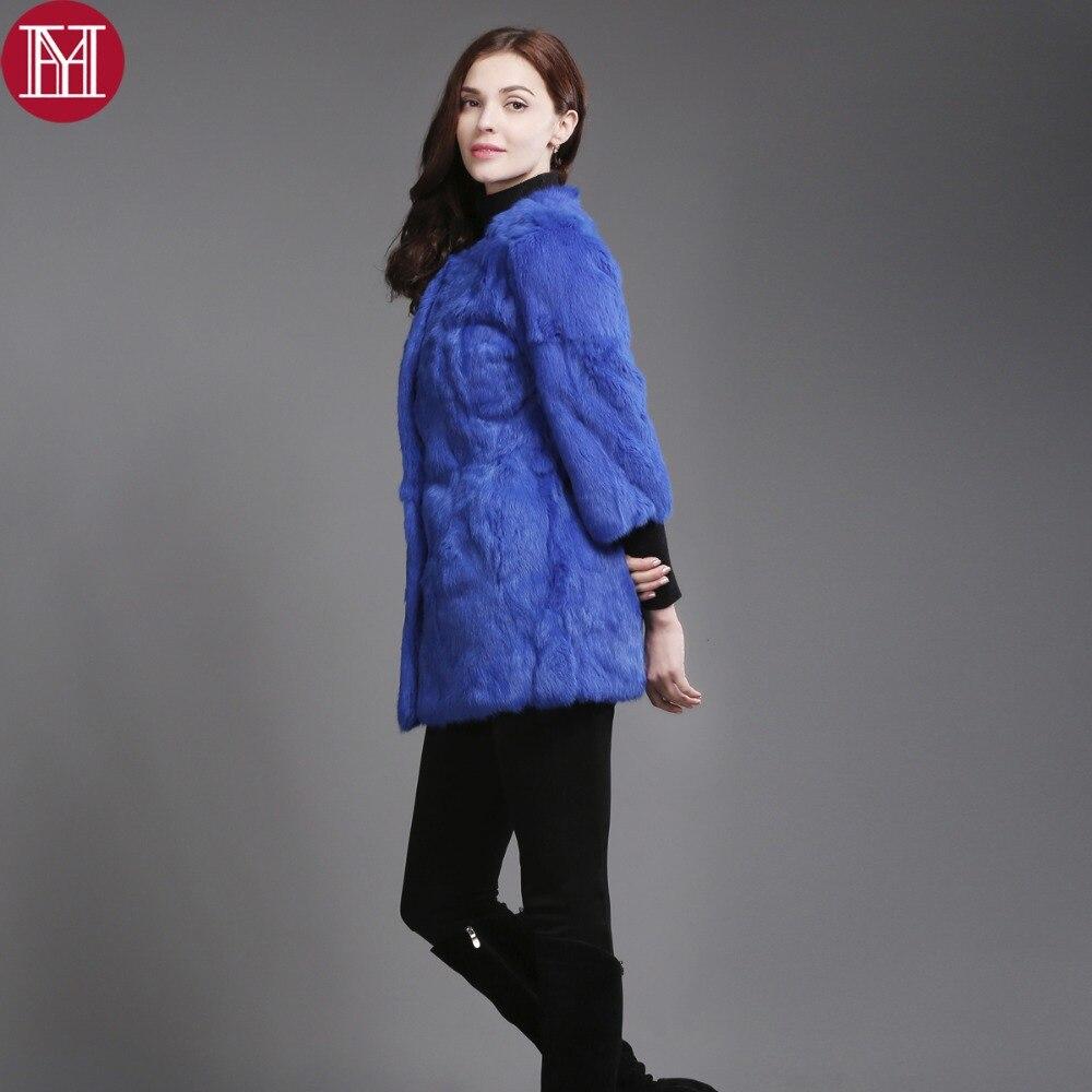 Natural Real Rabbit Fur Jacket New Winter Entire Skin Real Rabbit Fur Long Coat Korean Female Three Quarter Sleeve Soft Fur Coat