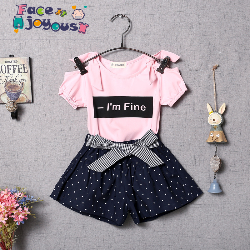 Baby The New 2018 Summer Girl Clothing Set Fashion Fabric Bow Cute Short-sleeved T-shirt & Skirt Girl Clothes Sports Suit 0-4 Y