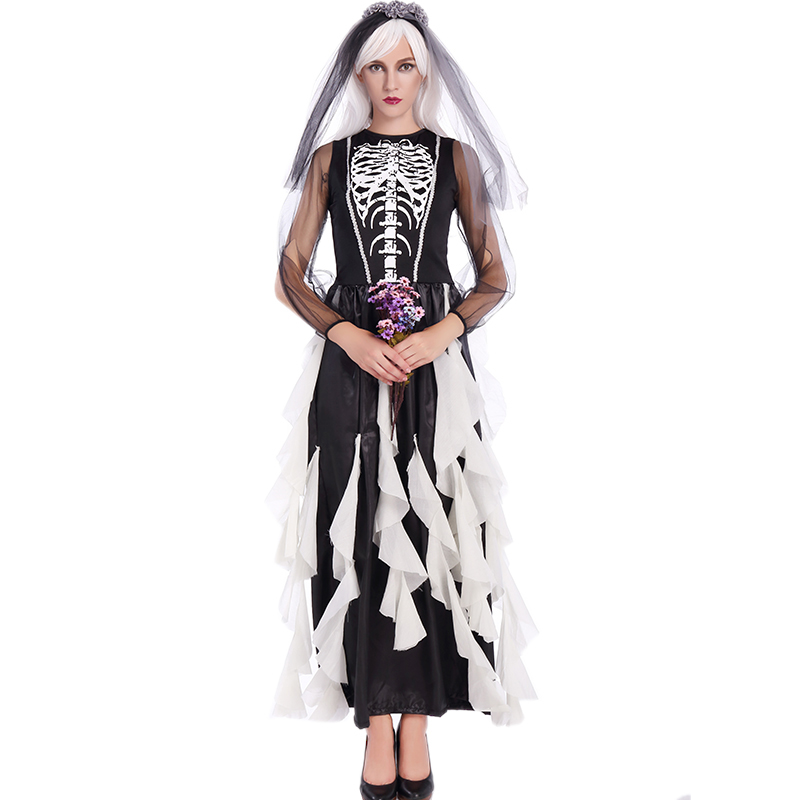 2017 Halloween Zombie Costume Cosplay Black Corpse Bride