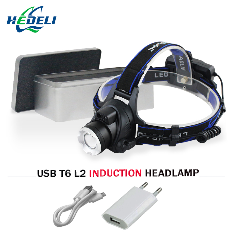 IR sensing zoomable led headlamp cree xml t6 xm l2 USB flashlight forehead head torch 18 ...