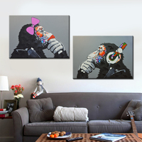 2 Panel Orangutan Oil Painting Canvas Print For Living Room Home Decoration Poster Wall Art Picture