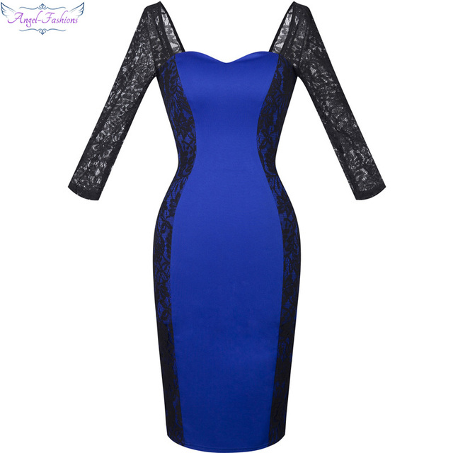 Vestido azul cuerpo encaje