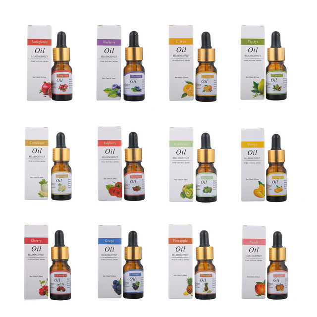 12 kind fruit flavour Pure Essential Oils for Diffuser, Humidifier, Massage, Aromatherapy, Blueberry Cherry Mango Kiwifruit