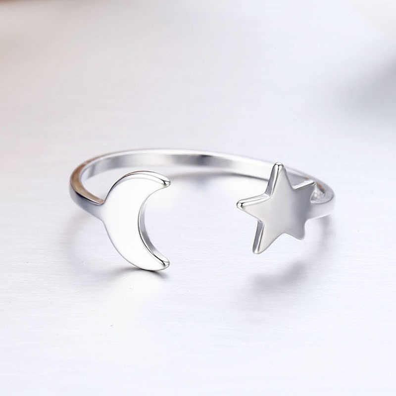 Милые кольца из чистого серебра 925 пробы с Луной и звездой для женщин девушек ювелирные изделия пальцы рук и ног Anillos Bague Argent Aneis ювелирные изделия Анильо