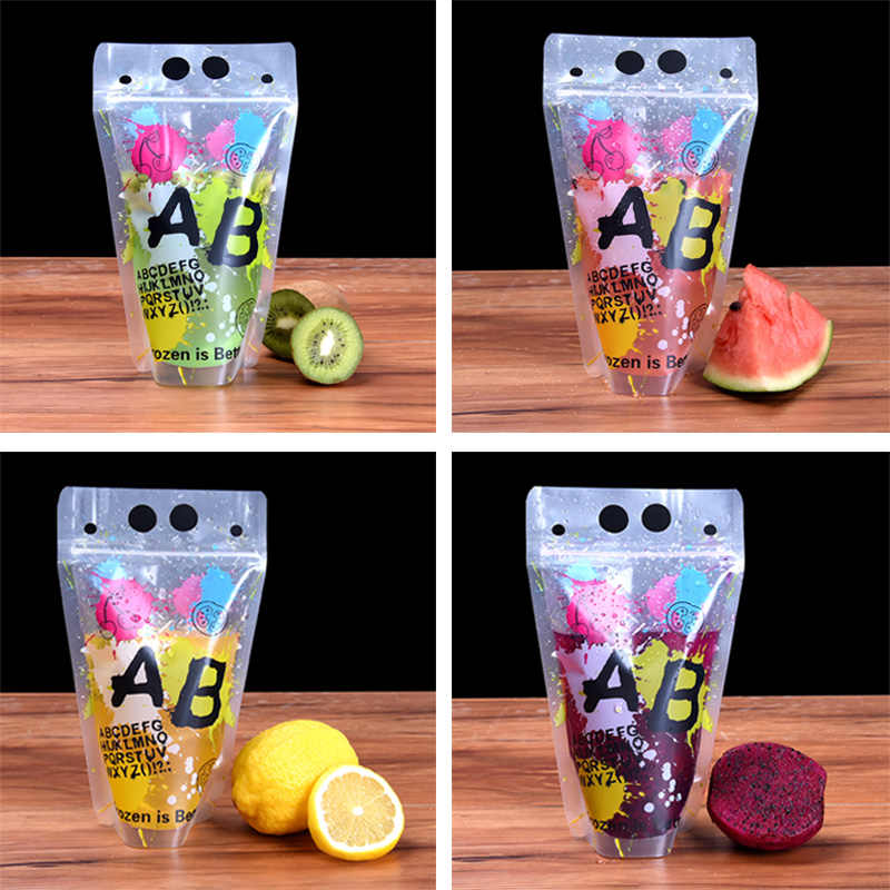 100pcs/lot New Design 7 Styles Plastic Drink Packaging Bag Pouch for Beverage Juice Milk Coffee with Handle and Holes for Straw