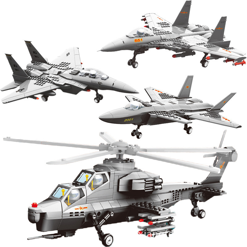 Military 4 Plane Building Blocks Set WZ10 Gunship Helicopter J15 J20 F15 Stealth Fighter Brick Airplane Toy Compatible Legoingly