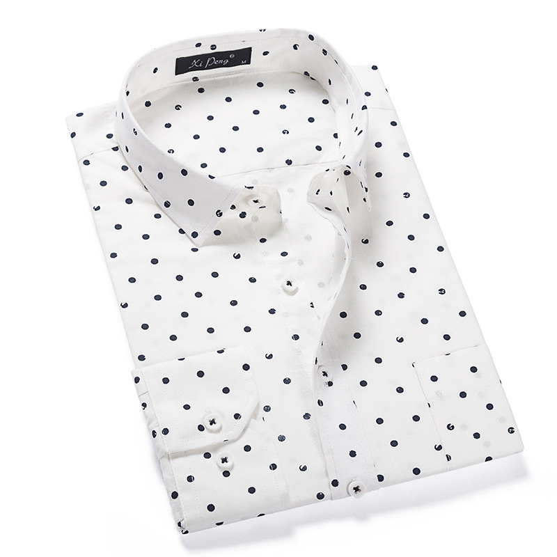 White Polka Dot Shirt Men 100% Cotton Long Sleeve Mens Dress Shirts Casual Slim Fit Chemise Homme Camisa Masculina Male Shirt