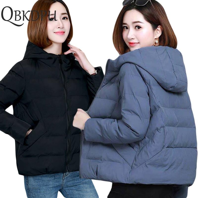 Casual Loose Outerwear solid Short Coats Winter Jacket women 2019 Women Hooded   Parkas   Female Slim Cotton padded basic Outwear