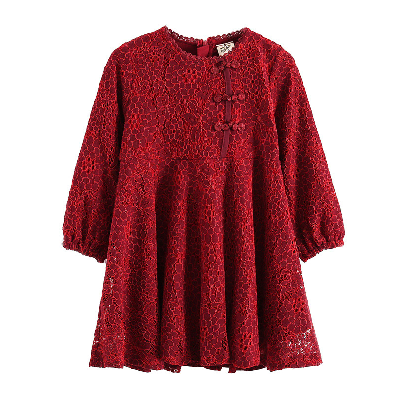 2018 Spring Winter Girls Dress Solid Lace Kids Clothes Long Sleeve Party Dresses For Girls European Style A-Line Princess Dress 2016 new autumn girls costume european&american style kids dress for girls fashion lace floral child long sleeve dress