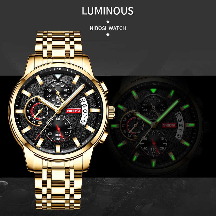 NIBOSI メンズ腕時計トップブランドの高級ゴールド腕時計スポーツメンズクォーツ時計防水軍事腕時計レロジオ Masculino Saat