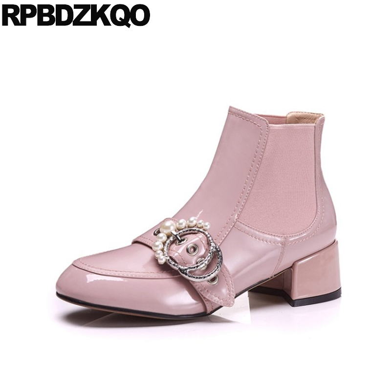 Patent Leather High Heel Pearl Women Booties Suede Shoes Womens Ankle Boots Medium Genuine Sheepskin Pink Ladies Autumn Metal