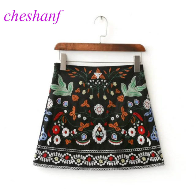 Spring 2020 A-Line Mini Ethnic Women Skirts Short Black Embroidered Skirt High Waist Floral Vintage Embroidery Skirts Female