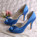 Wedopus MW128 Latest Design Ladies Blue Platform Women's Peep Toe Bridal Wedding Shoes