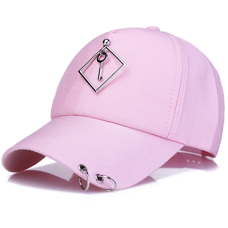 HT1272 New Fashion Solid Black White Pink Baseball Cap with Rings High Quality Hip Hop Cap for Men Women Adjustable Snapback Cap 2016 new new embroidered hold onto your friends casquette polos baseball cap strapback black white pink for men women cap