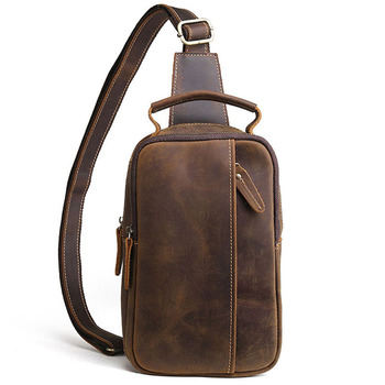 2019 Men Vintage Crazy Horse Genuine Leather Cowhide Sling Chest Back Bag Handbag Cross Body Messenger Shoulder Pack Travel Bag Apparels Bags Cross Body Bag Men's Bag
