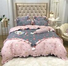 Korean Princess Style Pink Gray Strawberry Printing Polyester Cotton Girl Bedding Set Ruffles Duvet Cover Bed sheet Pillowcases