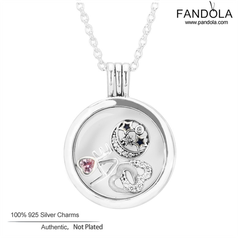 Medium Floating Locket Pendant Necklaces with 3 Small Petites Fashion Silver 925 Jewelry Girl DIY Necklace