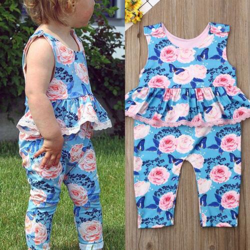 0-24 M Pasgeboren Blue Ruffle Romper Peuter Baby Meisje Bloemen Romper Zomer Playsuit Jumpsuit Kleden Outfits Sunsuit Met De Beste Service