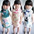 Moda estilo verão crianças meninas cotton linen impresso-chi pao cheongsam curto crianças vestido tradicional chinês costume play