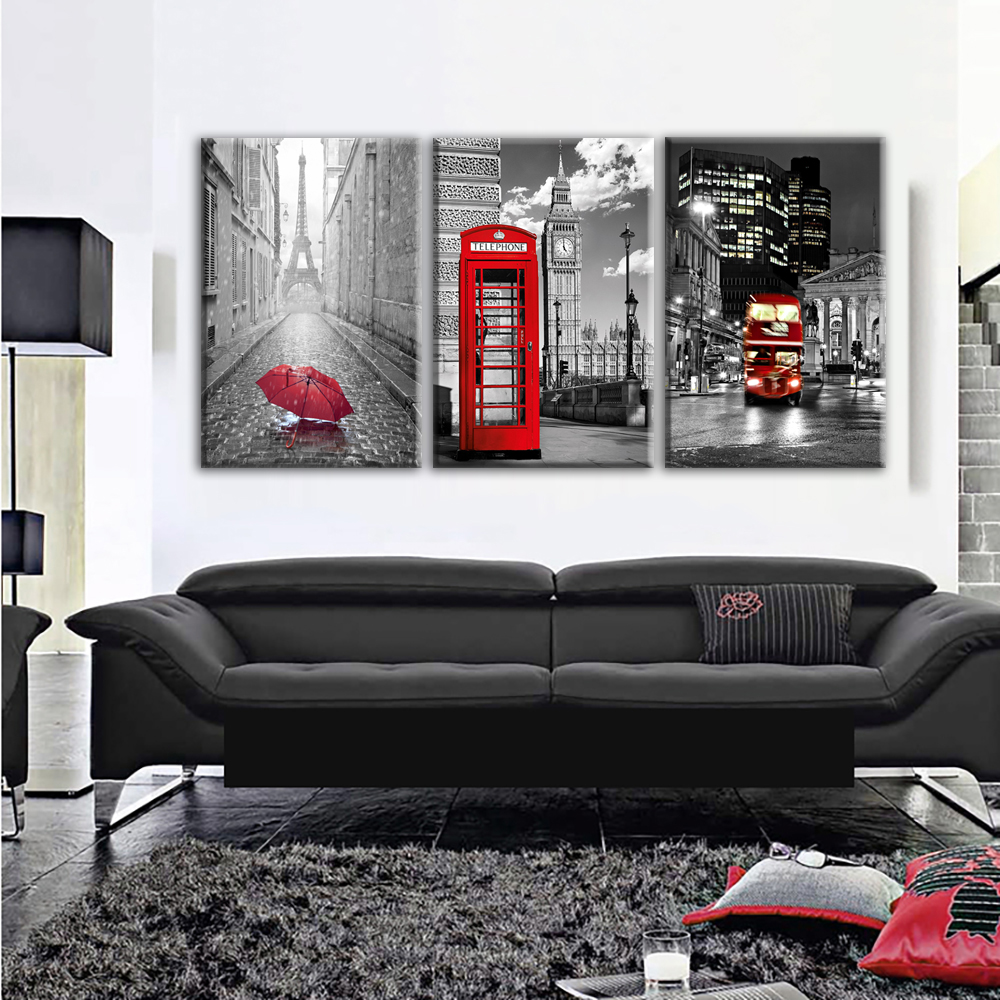Modern Wall Art Framework Canvas Pictures 3 Pieces Paris Black White Eiffel  Tower Red Car Umbrellas Paintings Posters Home Decor In Painting U0026  Calligraphy ...