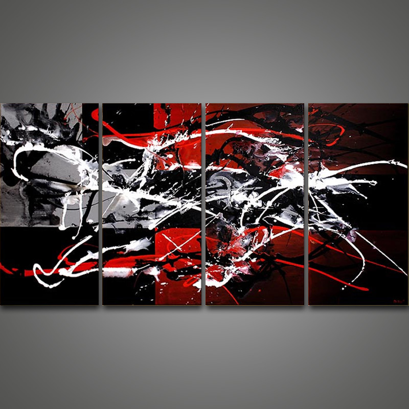Hand Painted Abstract Art Paintings Black White Red Oil Painting