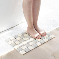 Diatomite Bathroom Floor Mat, Quick Drying Mosaic Pattern Area Rugs Home Bath Floor Cover Pads Essentials Washable Safety Mat