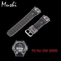 MS Silicone Assista Bracelete 16mm para Casio DW 6900 de Borracha Transparente Caixa do Relógio de Pulseira Pin Fivela faixa de Relógio Dos Homens do esporte com a Ferramenta