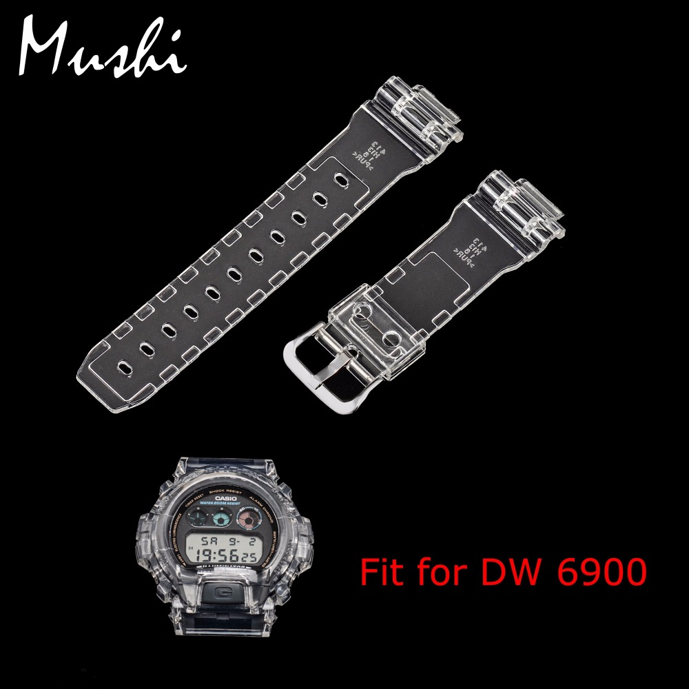 MS Silicone Watch Strap 16mm for Casio DW 6900 Transparent Rubber Sport Men Watchband Pin Buckle Watch band Watch Case with Tool jansin 22mm watchband for garmin fenix 5 easy fit silicone replacement band sports silicone wristband for forerunner 935 gps