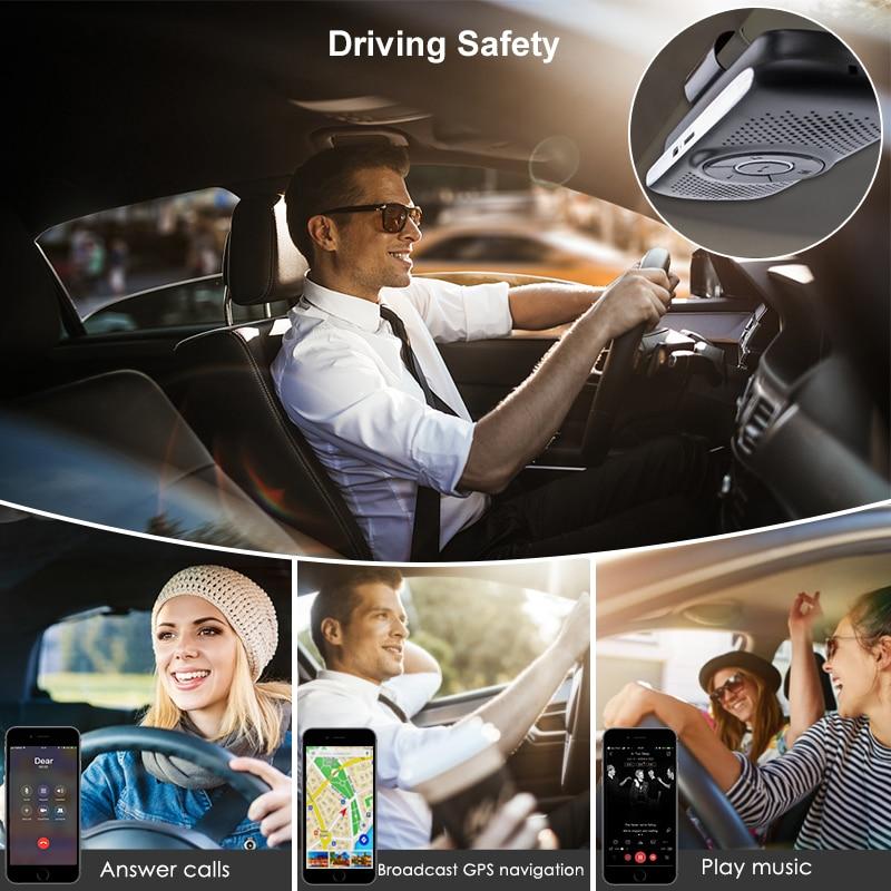 JINSERTA Bluetooth Handsfree Car Kit Wireless Auto SIRI Speakerphone TF Music MP3 Player Connect 2 Phones Sun Visor Speaker