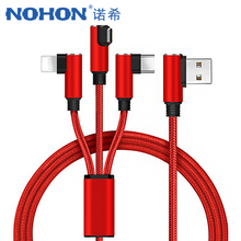 NOHON 90 Degree 3 in 1 Charge Cord 8 Pin Charger Cable For iPhone X XS MAX XR Micro USB Type C Android Xiaomi Charging