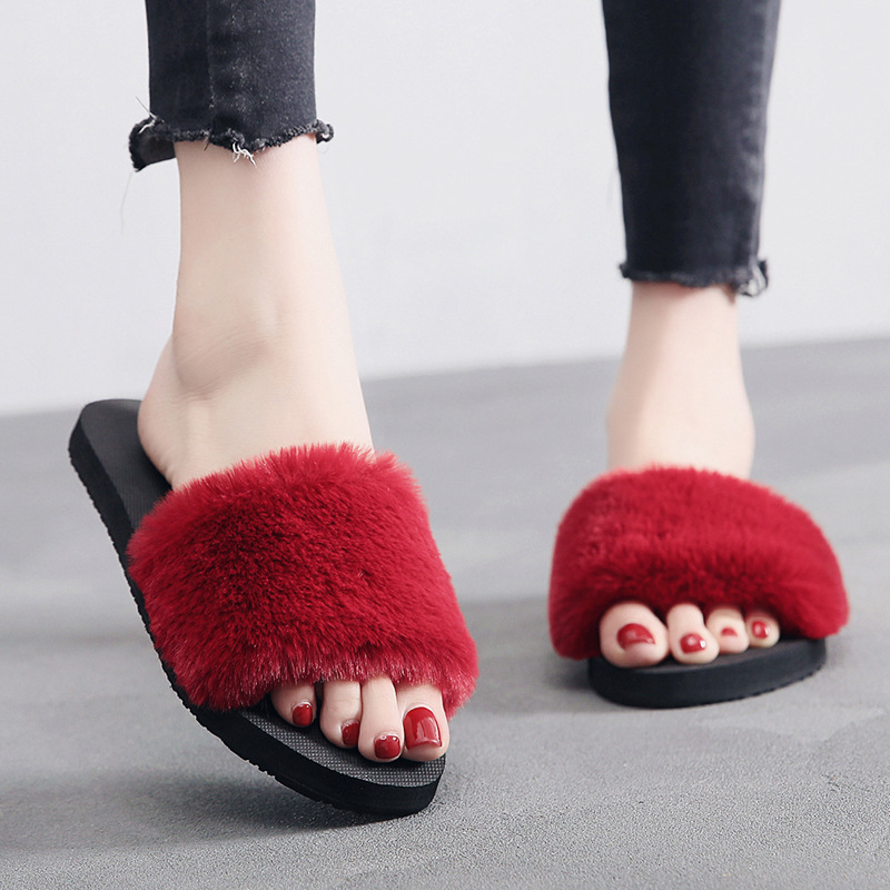 Woman Fur Slippers Ladies Shoes Slides Flats Fashion Home Female Casual Indoor Women Slippers Flip Flops Woman Shoes 2018 New women s slide on slip on loafer flats shoes slides slippers new fashion casual comfort woman flip flops dropshipping