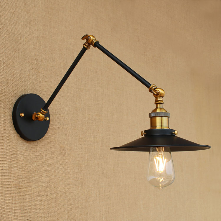 Rustic Retro Vintage Wall Light Fixtures Restaurant Cafe Adjustable Swing Long Arm Lamp Style Loft Industrial Wall Sconce LED