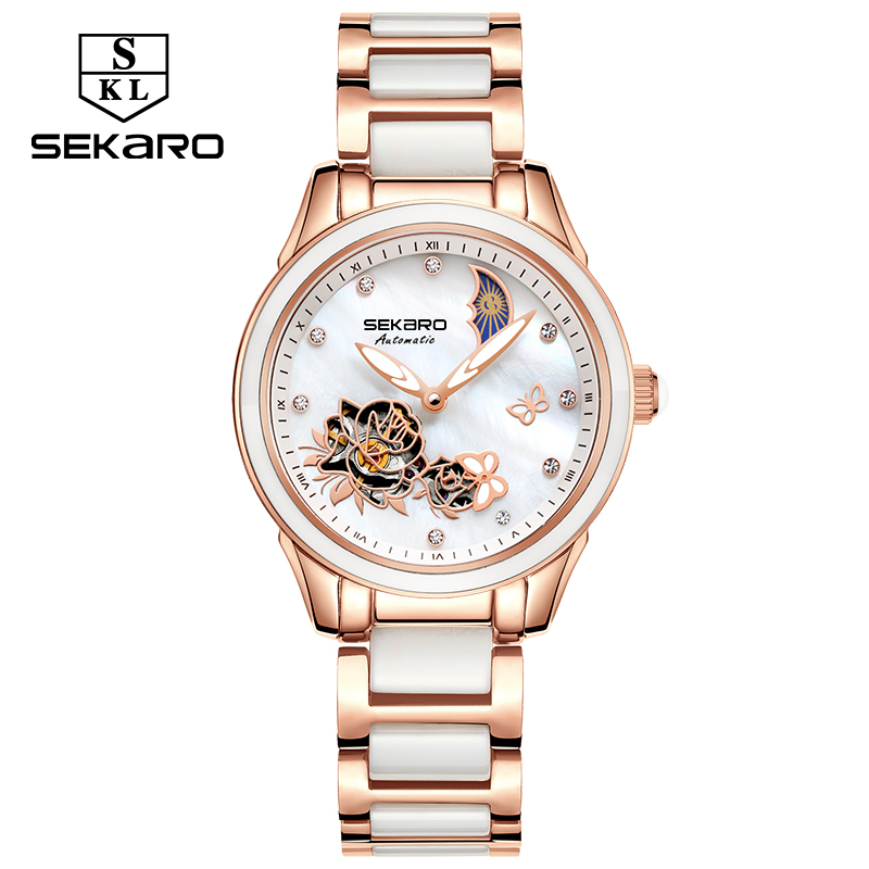 купить Sekaro Watches Women Fashion Luxury Ceramic Watch Automatic Mechanical Sapphire Crystal Beauty Butterfly Watch Women's For Gift по цене 4365.44 рублей
