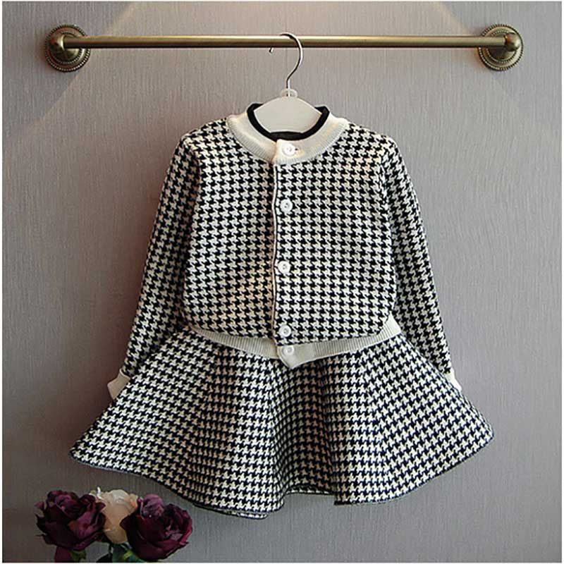 Girls Clothes Suit 2018 Autumn Knitting Clothes Long Sleeve Plaid Dress 2pcs Suit For Baby Girl Kids Korean Children Set plaid long sleeve belted midi dress