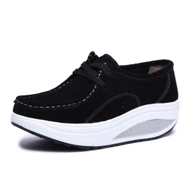 2017 Spring Casual Shoes Women Platform Body Shaping Shoes Fitness Shoes Fashion Genuine Leather Slimming Swing Shoes For Female 8