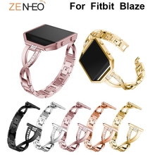 цены For Fitbit Blaze watch Wrist strap Luxury Watch Band Rhinestone Metal Bracelets with Bezel For Fitbit Blaze Replacement Straps