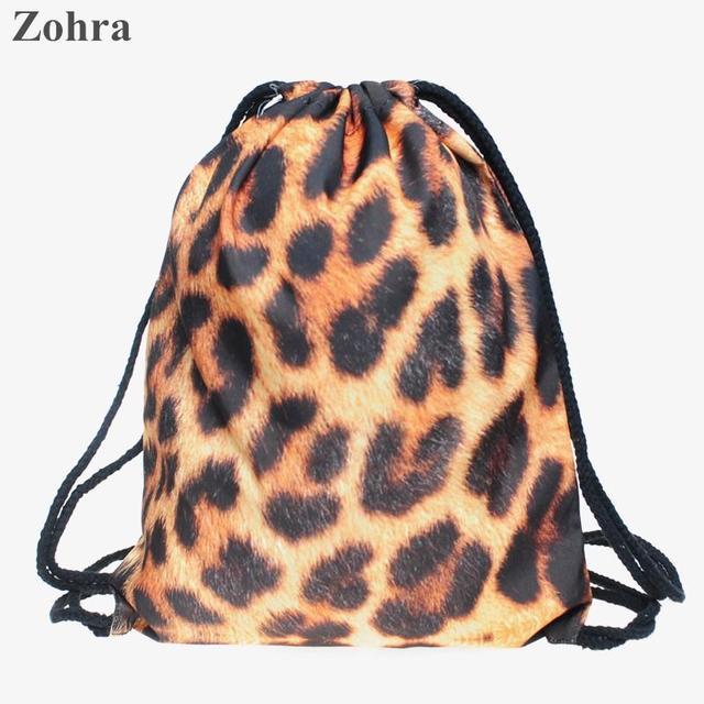 Panther tiger fur 3D printing Women bolsos drawstring bag man sport Gym bags  mochila Travel backpack Zohra Trend line brand