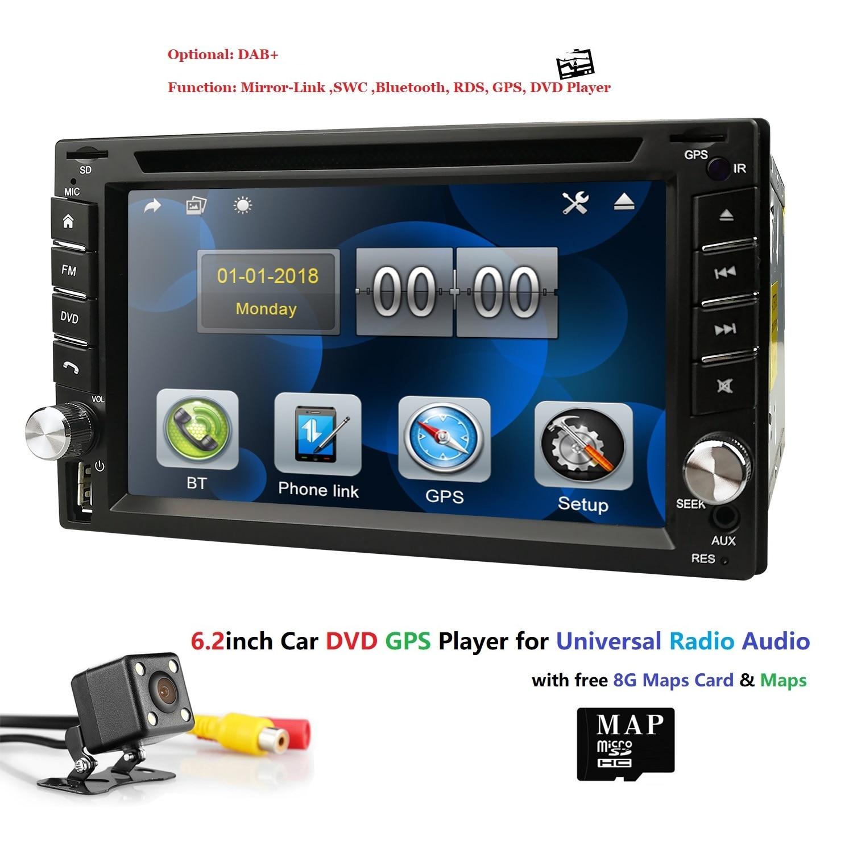 Ossuret autoradio universel Double 2 din lecteur DVD de voiture GPS Navigation dans le tableau de bord 2din voiture PC stéréo unité de tête vidéo gratuit carte Cam